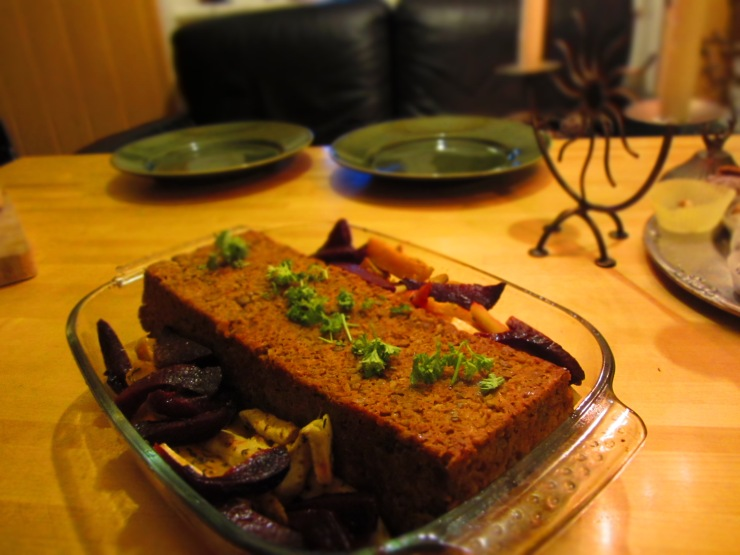 Green lentil meatloaf - even my brother in law ate it!